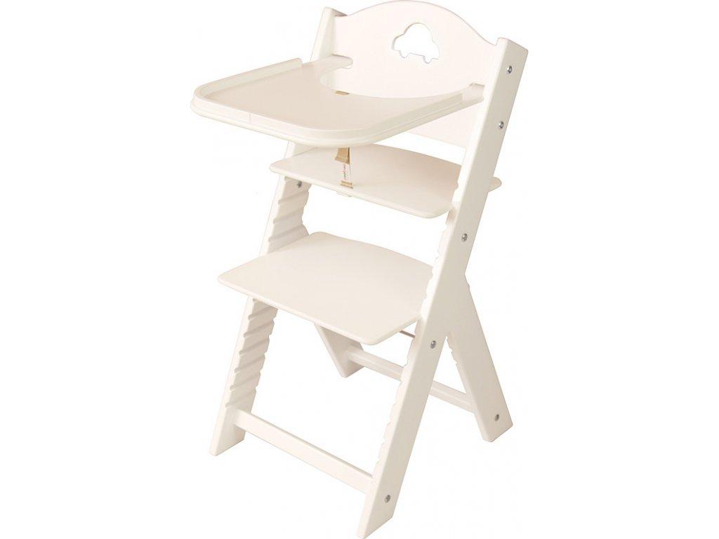 Dětská dřevěná jídelní židličkaSedees bílá - bílá s autíčkem