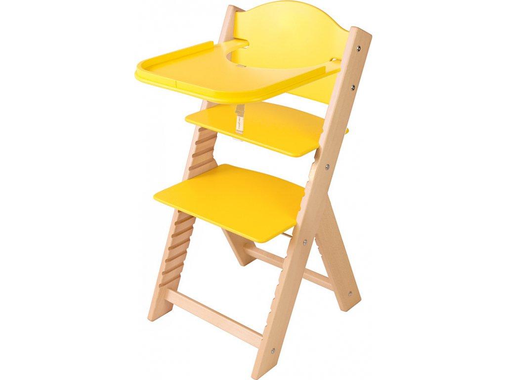 Dětská dřevěná jídelní židlička Sedees – žlutá