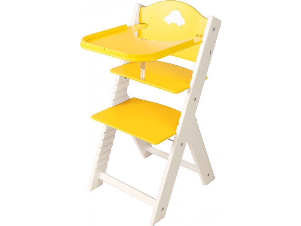 Dětská dřevěná jídelní židlička Sedees bílá - žlutá s autíčkem