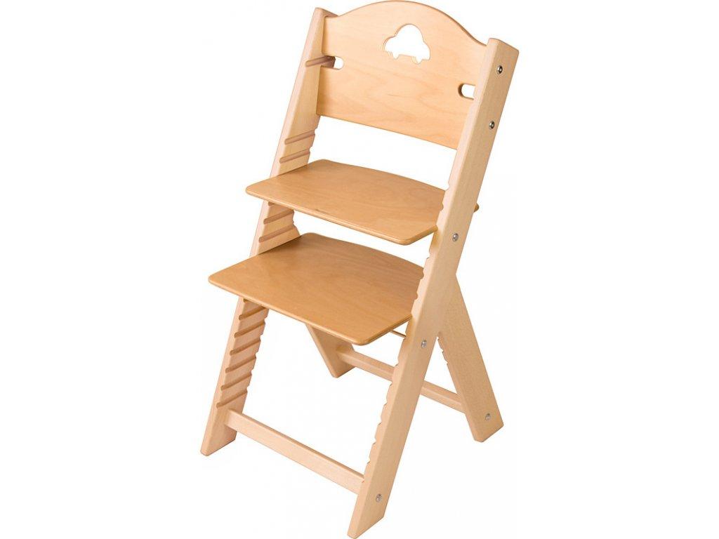 Dětská dřevěná rostoucí židle Sedees – bez povrchové úpravy s autíčkem