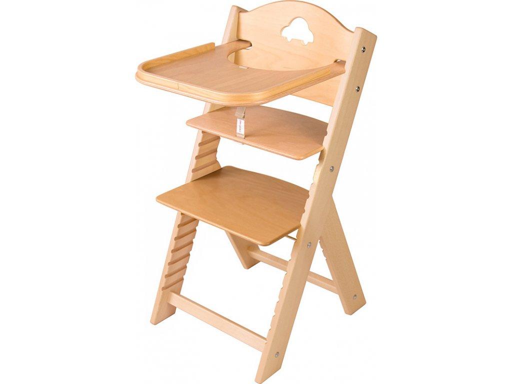 Dětská dřevěná jídelní židlička Sedees s autíčkem, bez povrchové úpravy