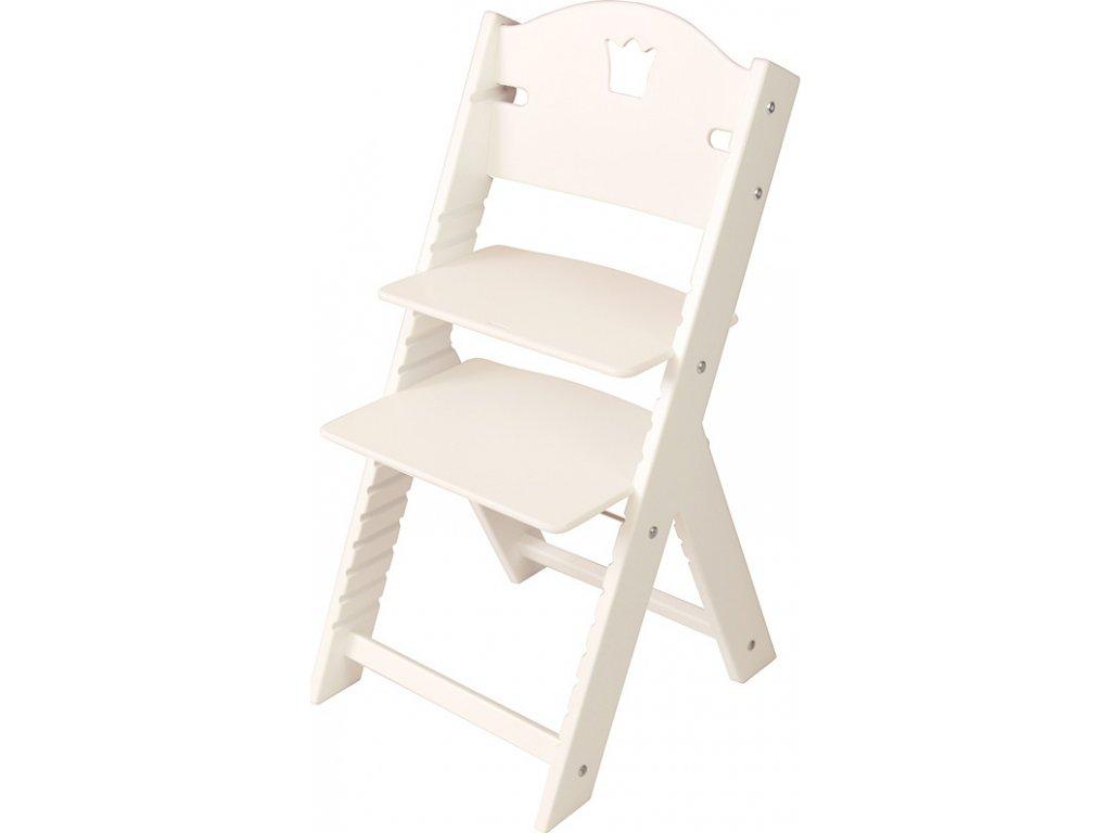 Dětská dřevěná rostoucí židle Sedees bílá - bílá s korunkou