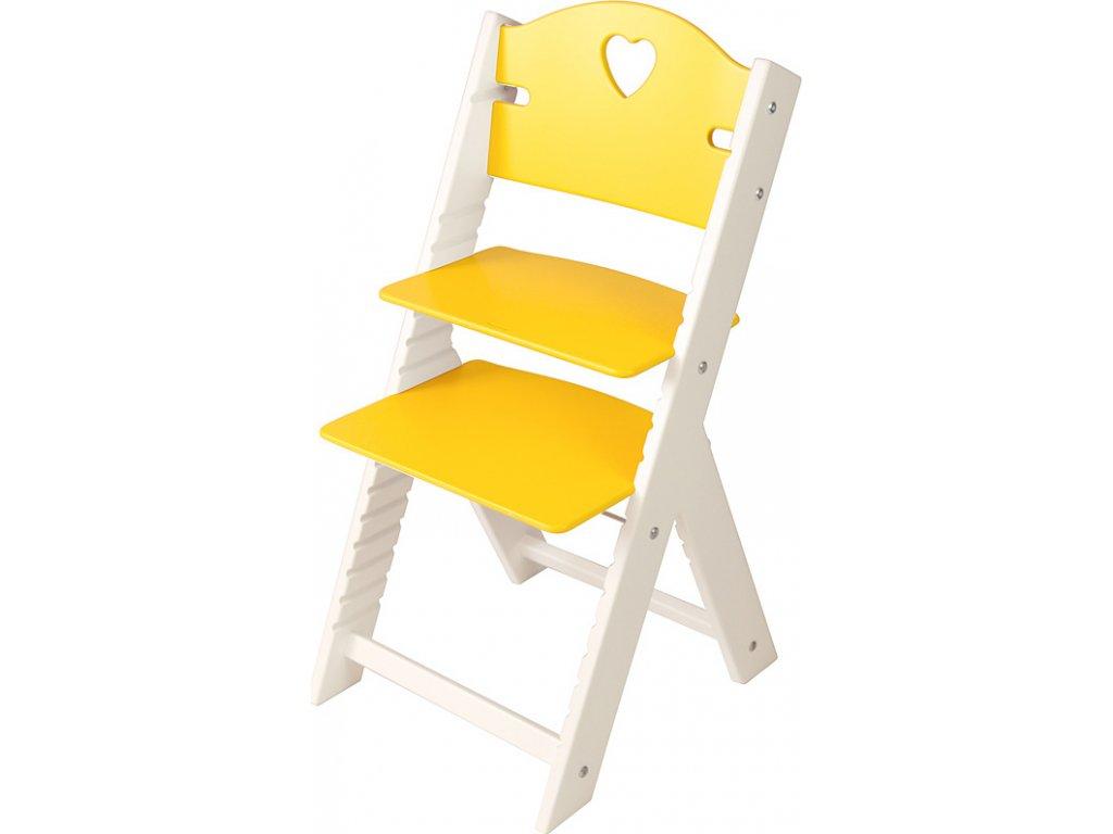 Dětská dřevěná rostoucí židle Sedees bílá - žlutá se srdíčkem