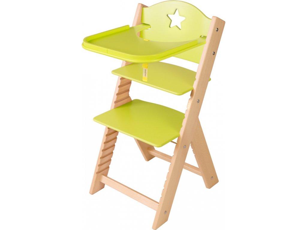 Dětská dřevěná jídelní židlička Sedees - zelená s hvězdičkou