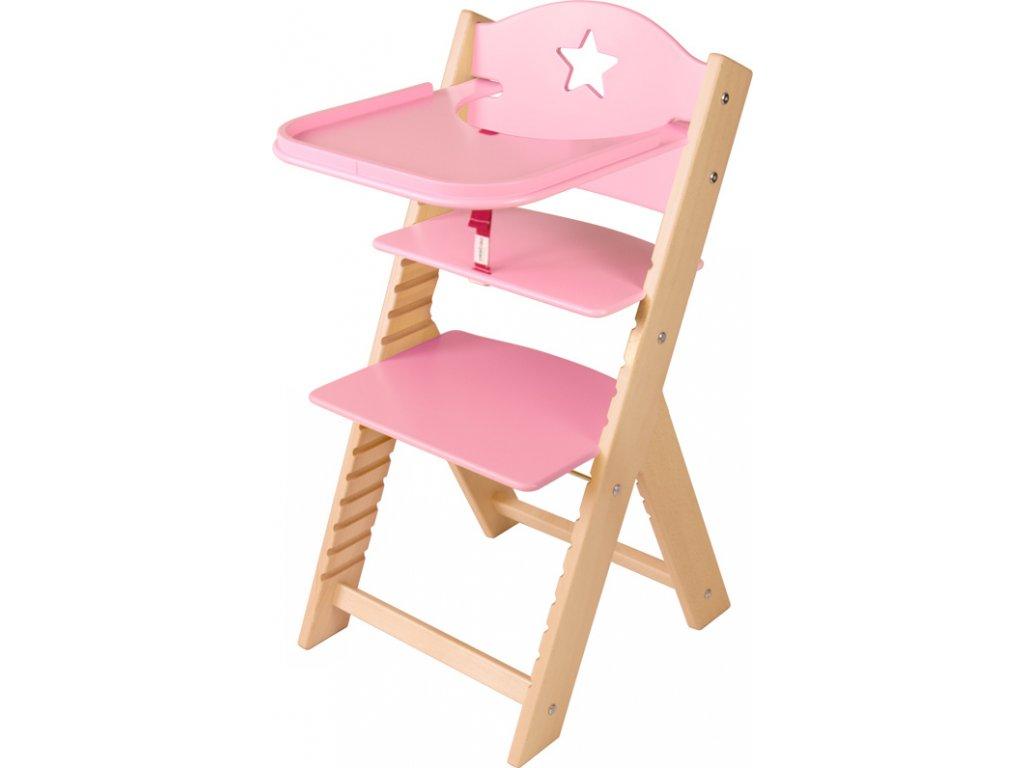 Dětská dřevěná jídelní židlička Sedees - růžová s hvězdičkou