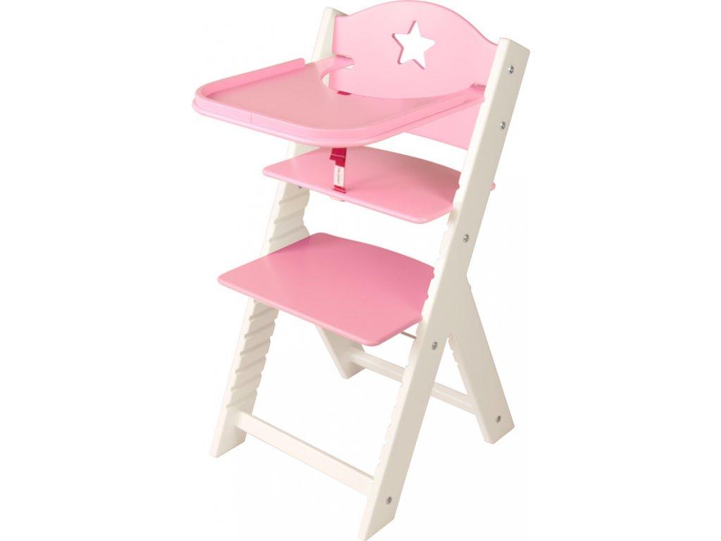 Dětská dřevěná jídelní židlička Sedees bílá - růžová s hvězdičkou