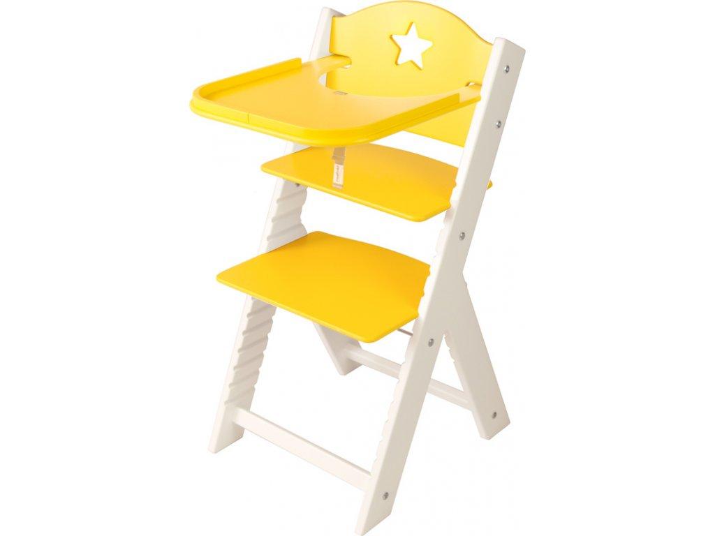 Dětská dřevěná jídelní židlička Sedees bílá - žlutá s hvězdičkou