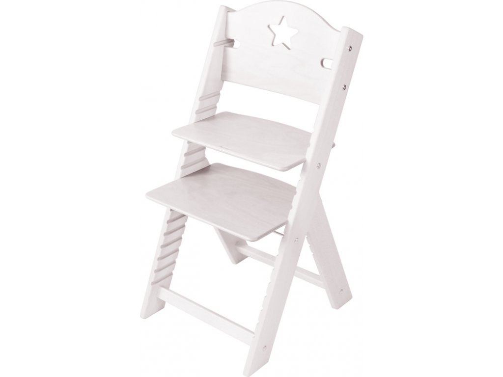 Dětská dřevěná rostoucí židle Sedees mořená - bílá s hvězdičkou