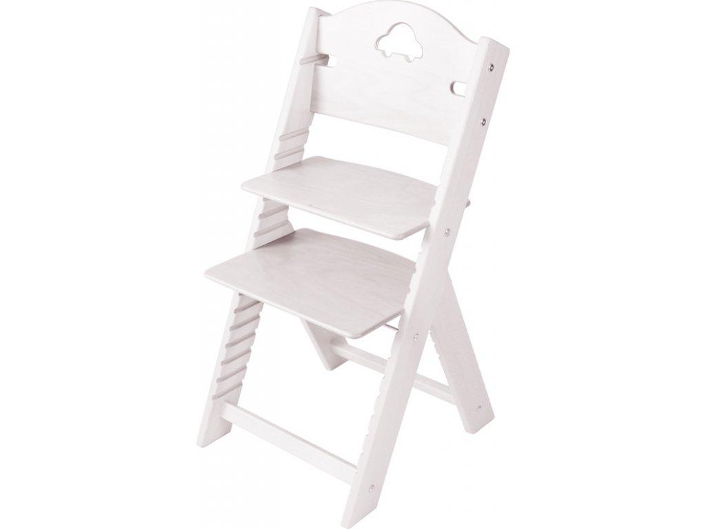 Dětská dřevěná rostoucí židle Sedees mořená – bílá s autíčkem