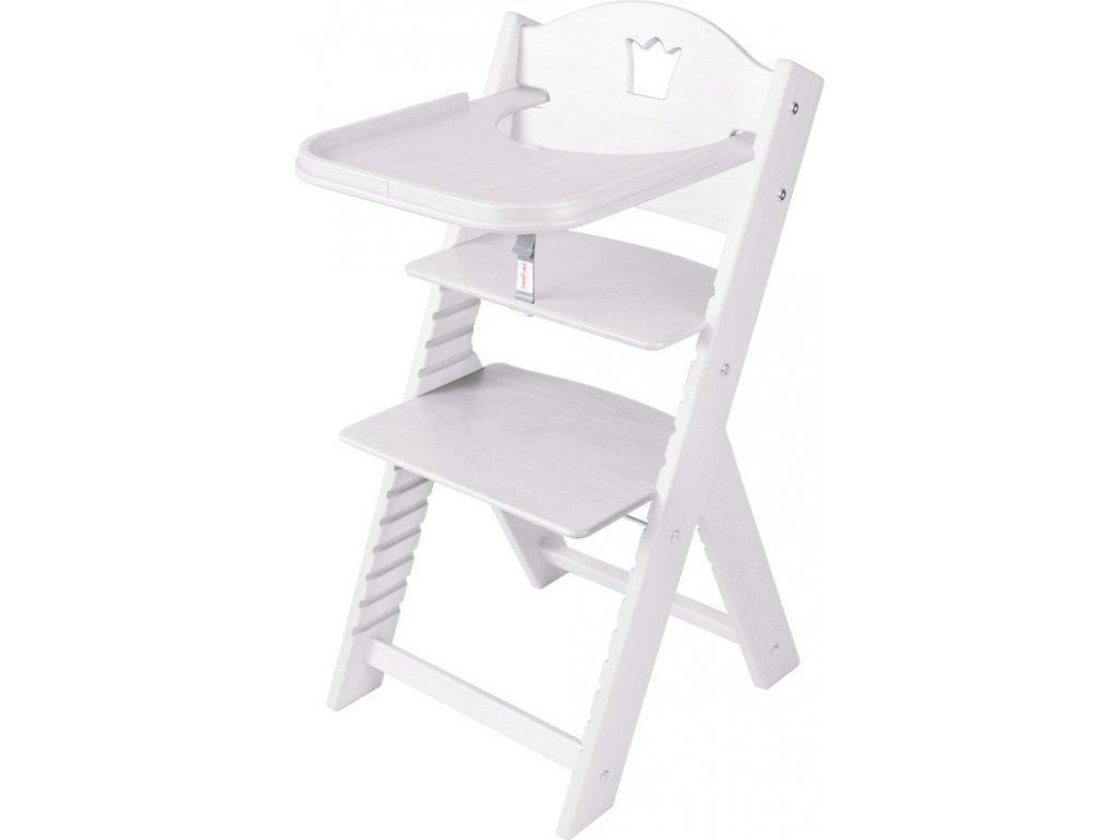 Dětská dřevěná jídelní židlička Sedees mořená - bílá s korunkou