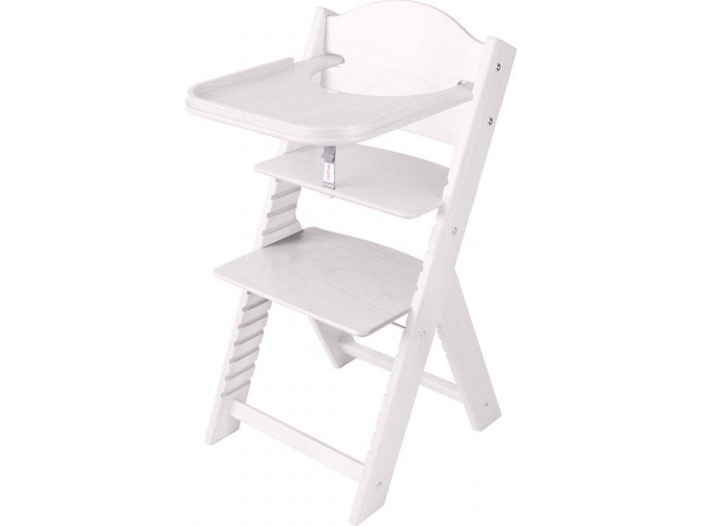 Dětská dřevěná jídelní židlička Sedees mořená – bílá