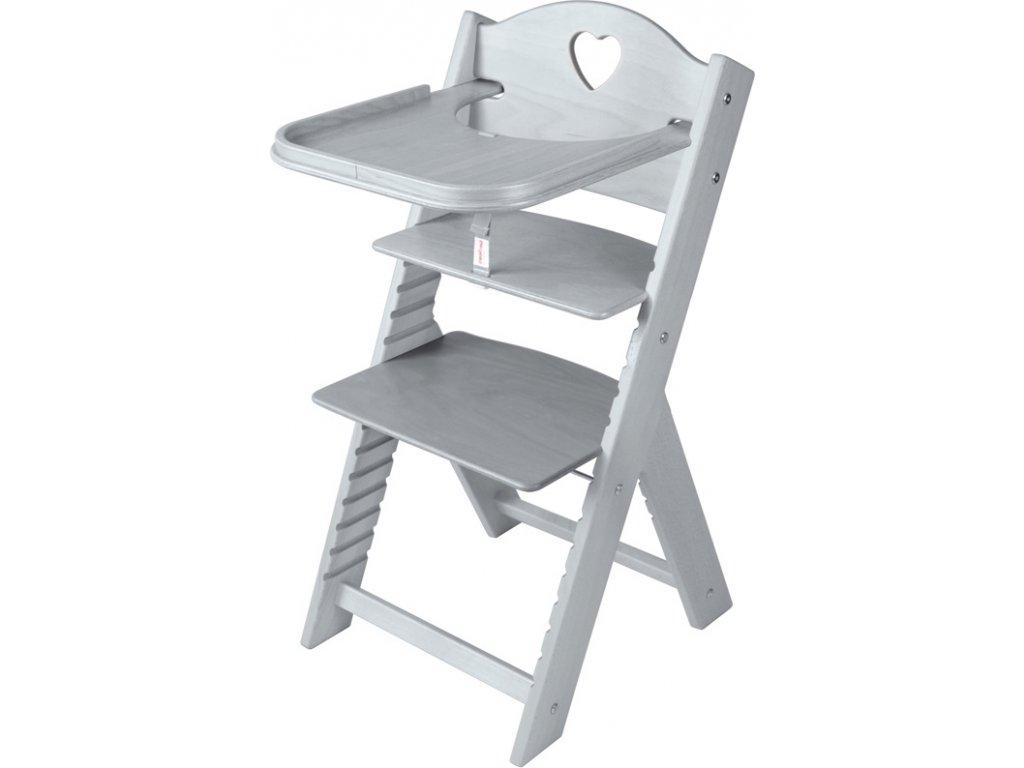 Dětská dřevěná jídelní židlička Sedees mořená – šedá se srdíčkem