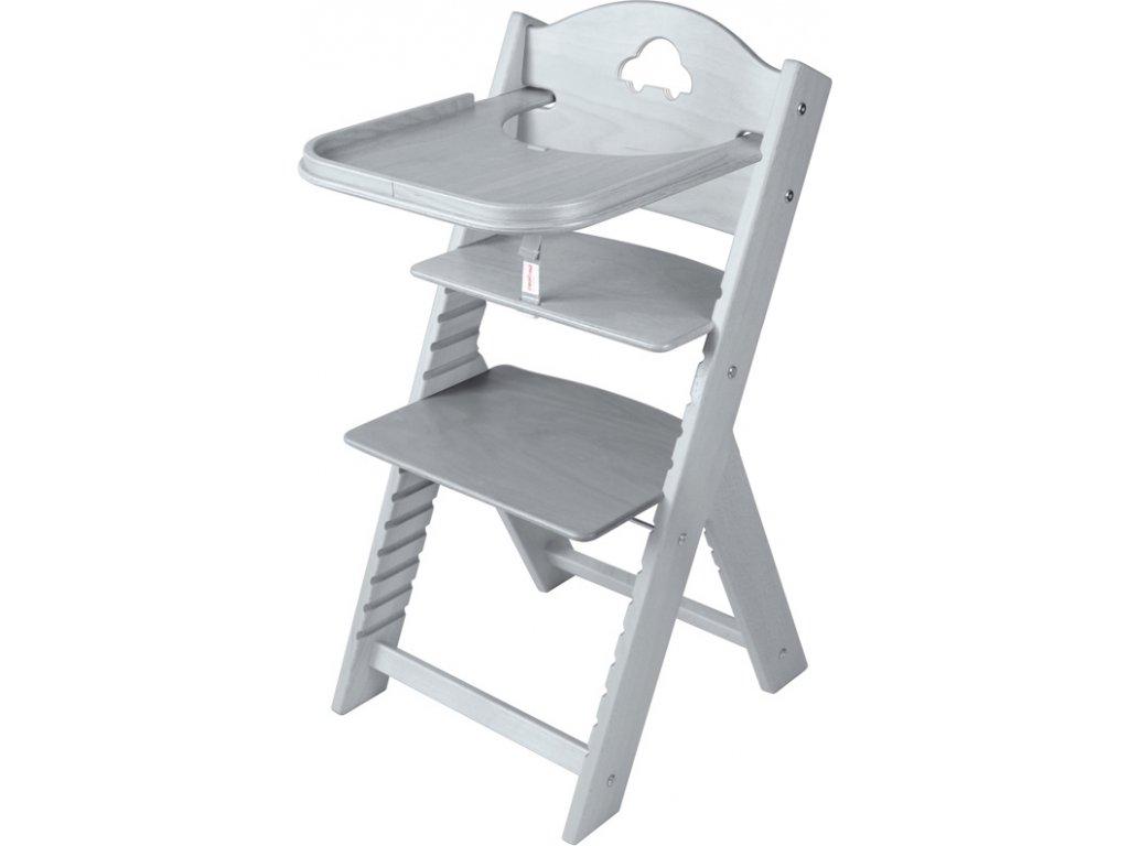 Dětská dřevěná jídelní židlička Sedees mořená – šedá s autíčkem