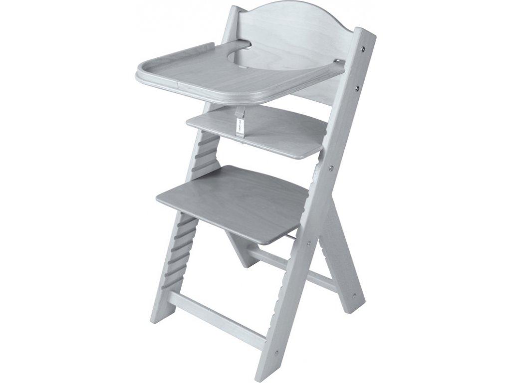 Dětská dřevěná jídelní židlička Sedees mořená – šedá
