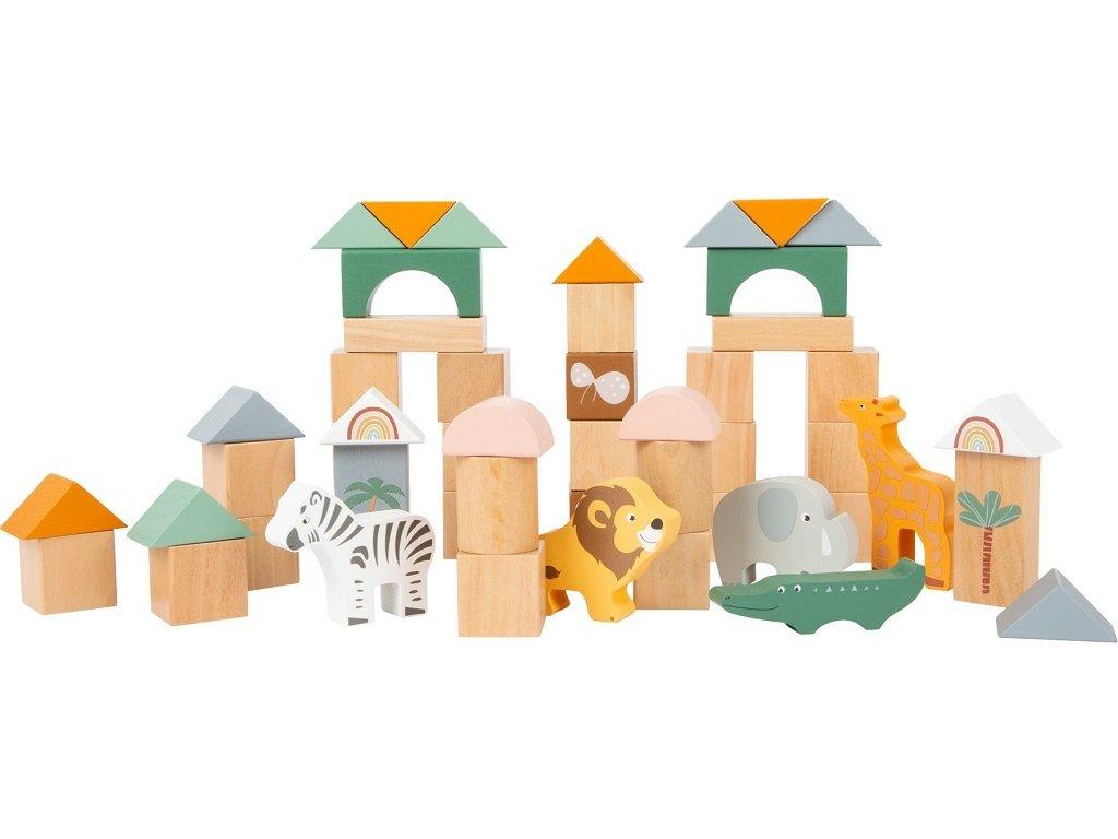 Dřevěné stavební kostky Safari 50 ks
