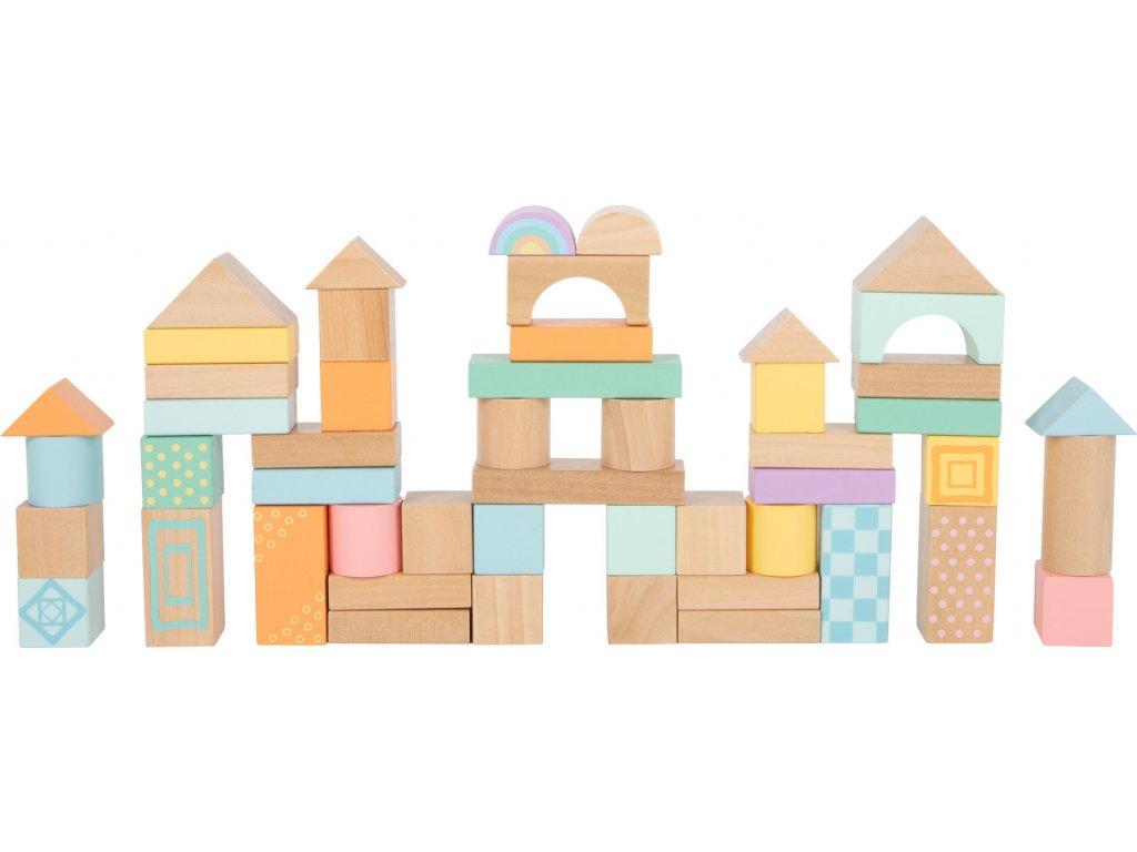 Dřevěné kostky pastelové 50 ks