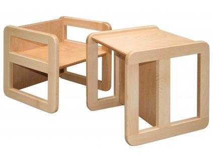 Víceúčelová židle / stůl 3v1