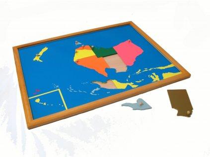 Puzzle - mapa Australie - rámeček z bukového dřeva