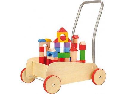 Chodítko dřevěné kostky ve vozíku