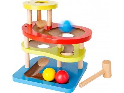 Small Foot Dřevěná barevná kuličková dráha s kladívkem