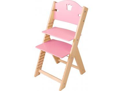 Dětská dřevěná rostoucí židle Sedees - růžová s korunkou