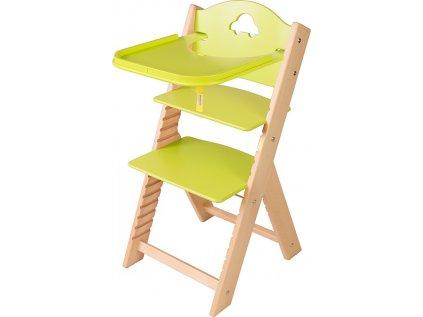Dětská dřevěná jídelní židlička Sedees - zelená s autíčkem