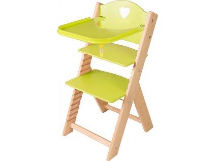 Dětská dřevěná jídelní židlička Sedees - zelená se srdíčkem