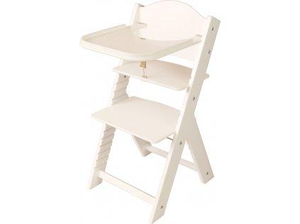 Dětská dřevěná jídelní židlička Sedees bílá - bílá