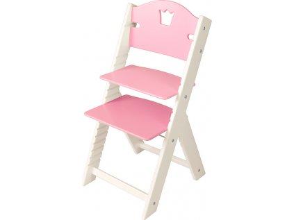 Dětská dřevěná rostoucí židle Sedees bílá - růžová s korunkou