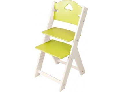 Dětská dřevěná rostoucí židle Sedees bílá - zelená s autíčkem