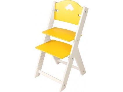 Dětská dřevěná rostoucí židle Sedees bílá - žlutá s autíčkem