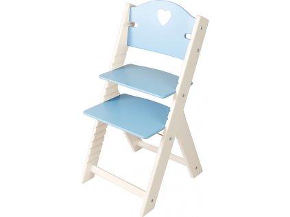 Dětská dřevěná rostoucí židle Sedees bílá - modrá se srdíčkem
