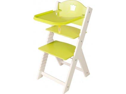 Dětská dřevěná jídelní židlička Sedees bílá - zelená s korunkou