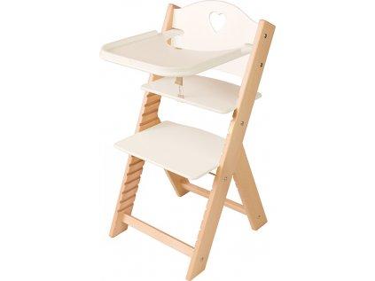 Dětská dřevěná jídelní židlička Sedees - bílá se srdíčkem