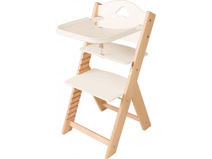 Dětská dřevěná jídelní židlička Sedees - bílá s autíčkem