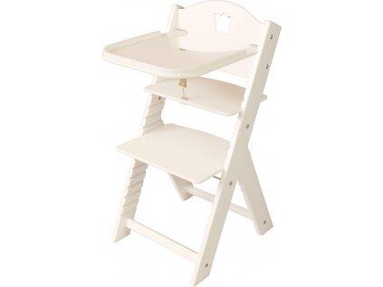Dětská dřevěná jídelní židlička Sedees bílá - bílá s korunkou