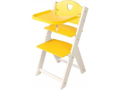 Dětská dřevěná jídelní židlička Sedees bílá - žlutá se srdíčkem