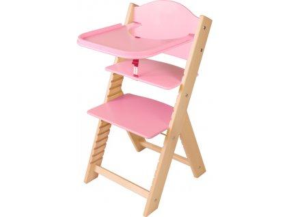 Dětská dřevěná jídelní židlička Sedees – růžová