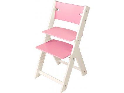 Rostoucí židle Sedees Line bílá – růžová