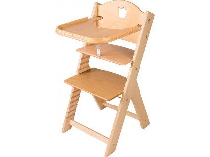 Dětská dřevěná jídelní židlička Sedees s korunkou, bez povrchové úpravy