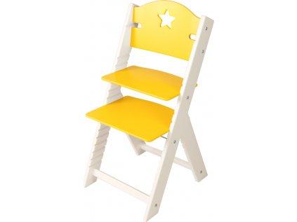 Dětská dřevěná rostoucí židle Sedees bílá - žlutá s hvězdičkou
