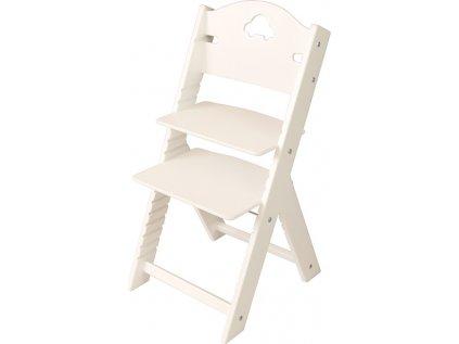 Dětská dřevěná rostoucí židle Sedees bílá - bílá s autíčkem