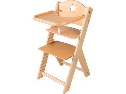Dětská dřevěná jídelní židlička Sedees s hvězdičkou, bez povrchové úpravy