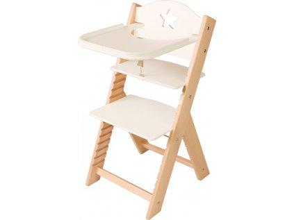 Dětská dřevěná jídelní židlička Sedees - bílá s hvězdičkou