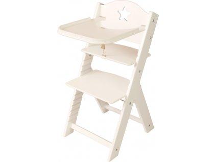 Dětská dřevěná jídelní židlička Sedees bílá - bílá s hvězdičkou