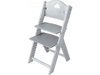 Dětská dřevěná rostoucí židle Sedees mořená - šedá s autíčkem