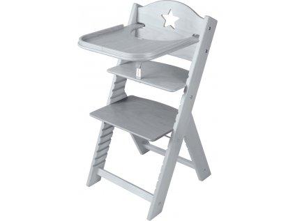 Dětská dřevěná jídelní židlička Sedees mořená – šedá s hvězdičkou