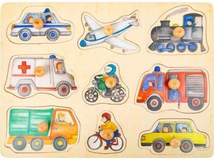 Small Foot Dřevěné puzzle Dopravní prostředky