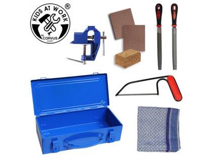 Kovový kufr s nářadím modrý