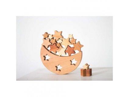 drevena balancni hracka mesic a hvezdy